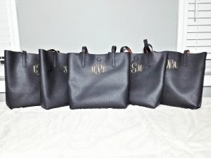 Monogrammed Leather Tote Bag Pleather Gold Personalized