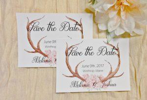 Save the Date Watercolor floral deer antlers