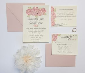 Pink water color on ivory invite Wedding