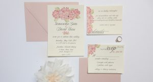 Pink Floral Water Color Wedding Invitation Suite