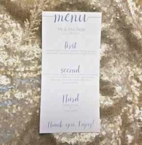 Simple Modern wedding menu