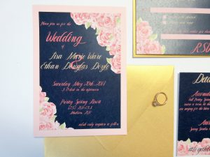 Wedding Invite Invitation Pink Watercolor flowers with accents of gold