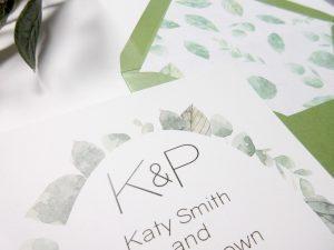 Close up of watercolor greenery invite wedding invitation