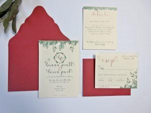 Wedding Invite Invitation Red Ivory Green Laser Cut Envelope