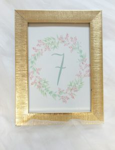 Water color floral wreath table number