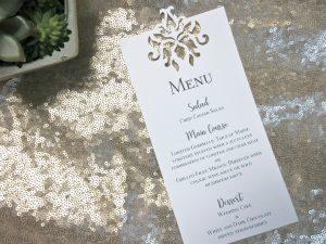 laser cut wedding menu barouque