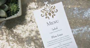 Laser cut die cut design on wedding menu