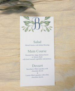 wedding menu Inital greenery watercolor