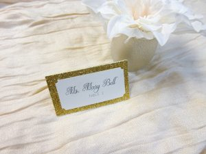 Gold Glitter escort cards Place cards