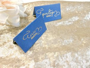 Blue and Gold Calligraphy place card Escort Card