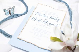 Blue and Gold Deckled Edge Custom Wedding Invitations, 5 piece suite, handmade, watercolor