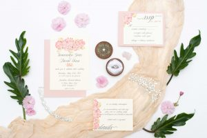 Custom Pink Watercolor floral wedding invitation set, 5 piece suite