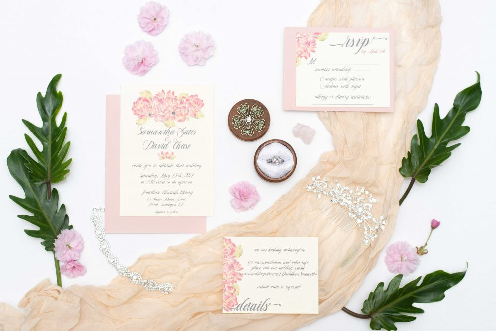 Custom Pink Watercolor floral wedding invitation set, 5 piece suite