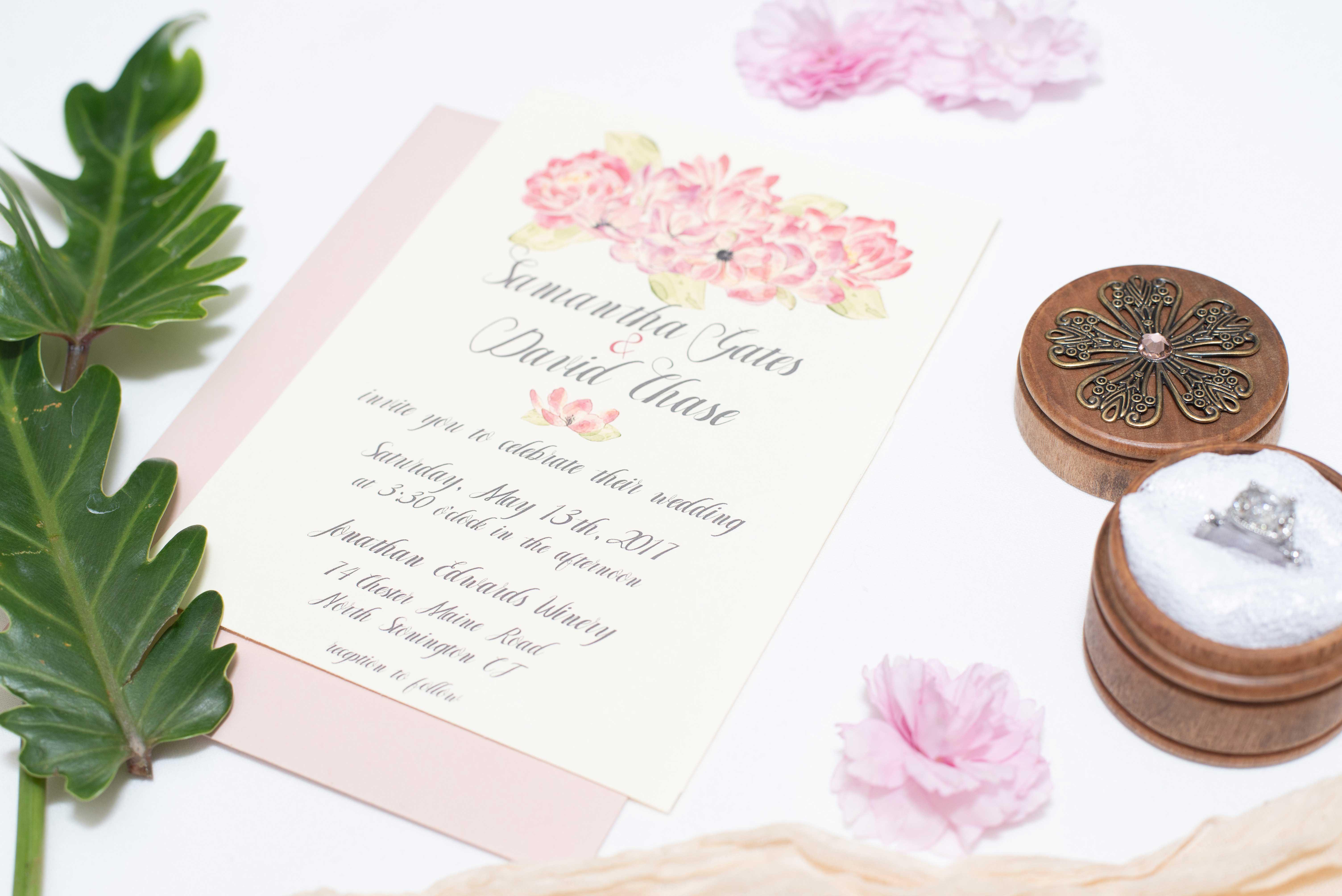 Custom Pink Watercolor floral wedding invitation