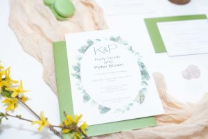 Greenery wedding invitation set, 5 piece suite