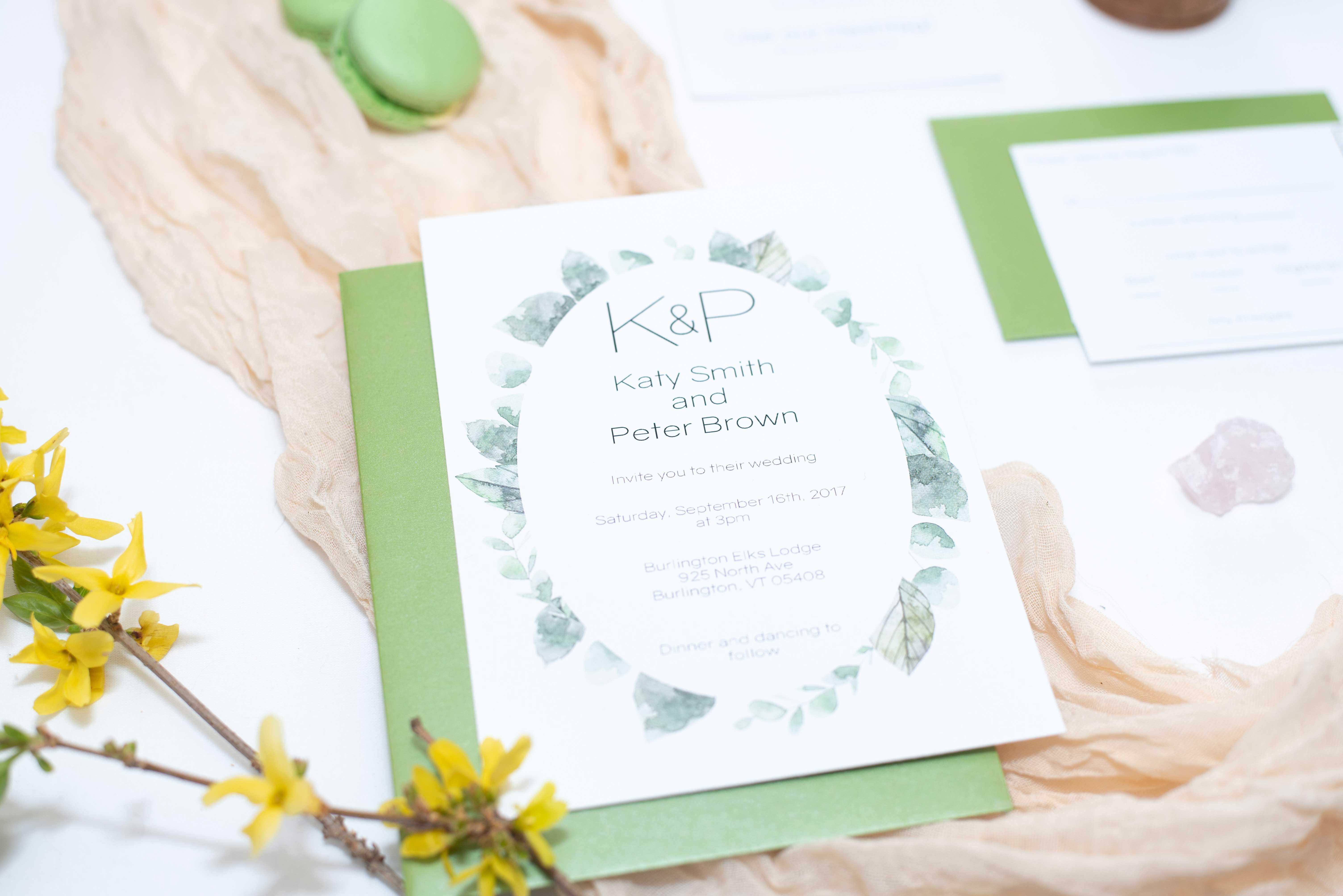 Greenery wedding invitation set, 5 piece suite