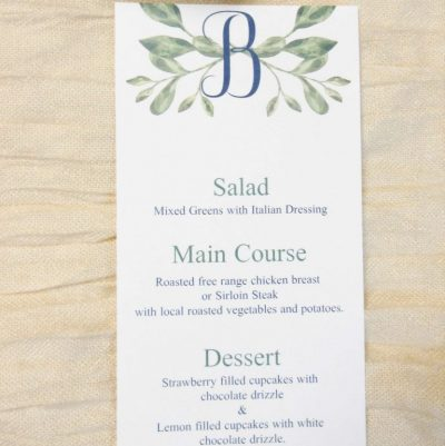 greenery and initial wedding menu