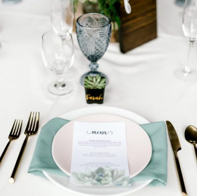 succulent menu table setting wedding