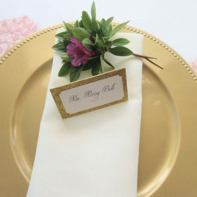 gold glitter escort card place card wedding