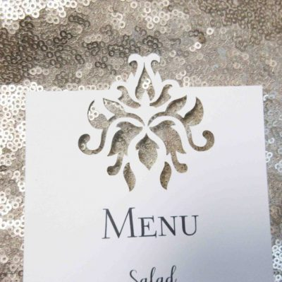 laser cut detail menu baroque wedding