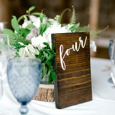 wooden table number wedding