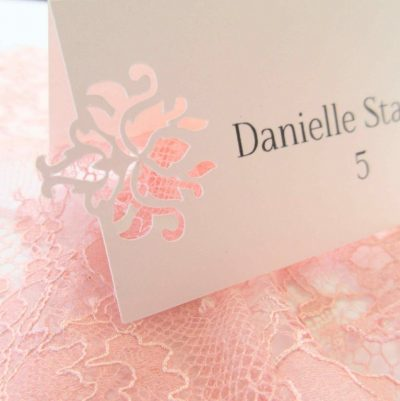 laser cut baroque escort place cards wedding