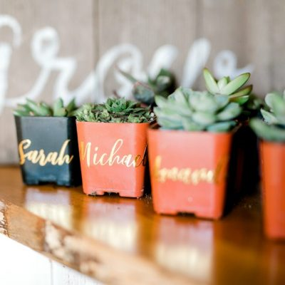 favors place cards gold succulent