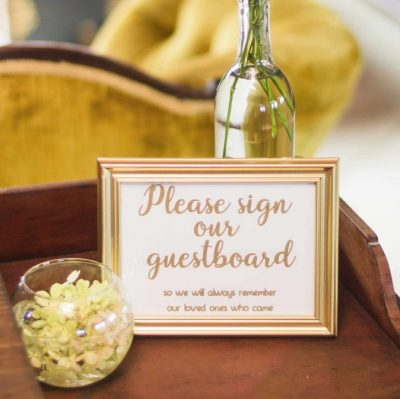 Sign our guestbook sign