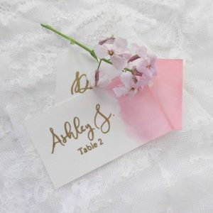 watercolor and gold escort cards place cards wedding cards