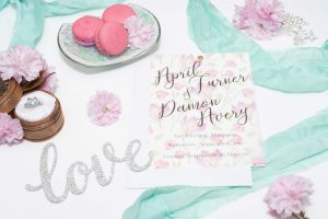 pink vellum floral save the dates