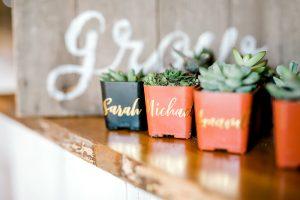 favors place cards gold succulent