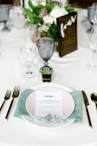 succulent menu table setting wedding