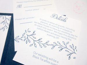 blue letterpress simple wedding invitation navy