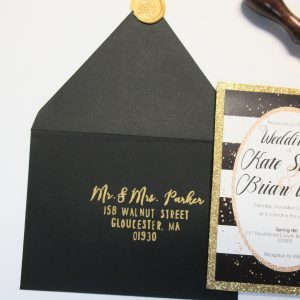 black and gold invitation calligraphy envelopes