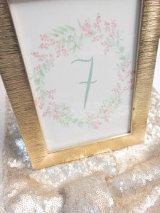 water color floral wreath table number wedding