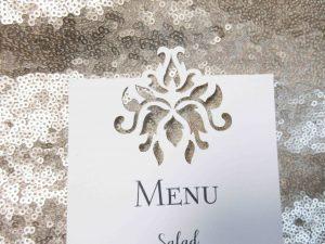 laser cut detail menu baroque wedding