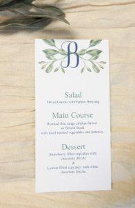 greenery and initial wedding menu