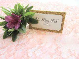 gold glitter escort card place card wedding