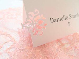 laser cut baroque escort place cards wedding