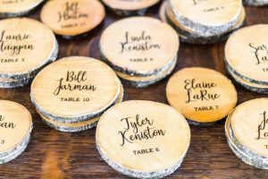 wooden coaster favors and escort cards place cards weddings