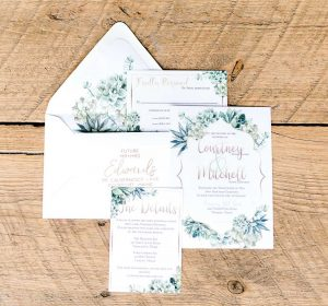 succulant green wedding invitation suite with envelope liner