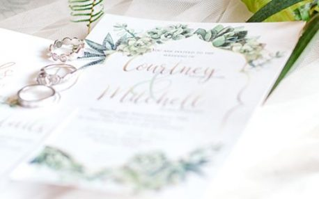 Greenery succulent and gold invitation Wedding