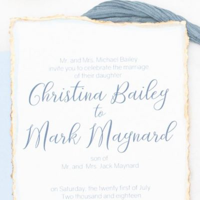 blue gold hand deckled invitation