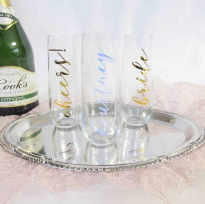 champagne stemless flutes personalized cheers