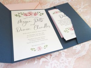 Pocket Invitation with Pink Floral water colors and pink envelopes