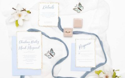 hand deckled water color invitation suite with gold edge