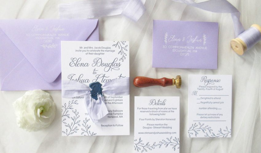Lavender and Navy Letterpress invitation suite