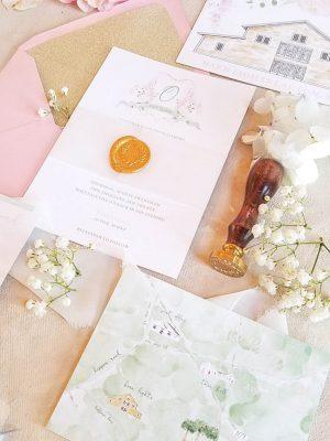 watercolor custom wedding invitation