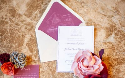 burgandy venue illustration wedding invitation