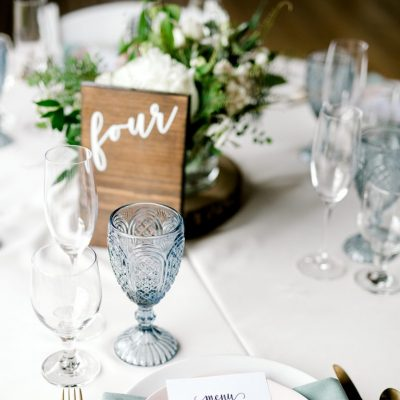 wooden table number and menu